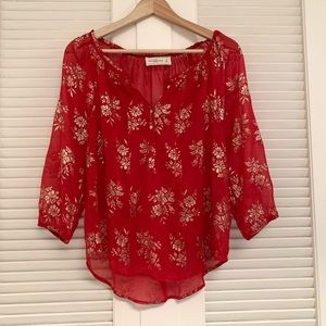 Abercrombie sheer red gold foil peasant top
